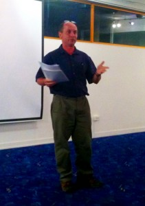 Rolf Kuelsen chats to the Carindale Community Forum at Pacific Golf Club.