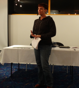 Kerryn Loose-Jones speaks to the monthly Carindale Community Forum