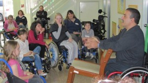 Talking to kids at the Spina Bifida Association last year