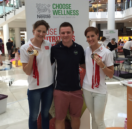 Cate and Bronte Campbell with Bryce Heaton