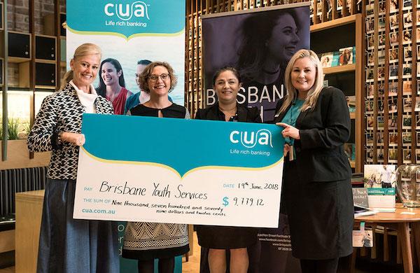 CUA Carindale presenting Brisbane Youth Service $10,000 grant