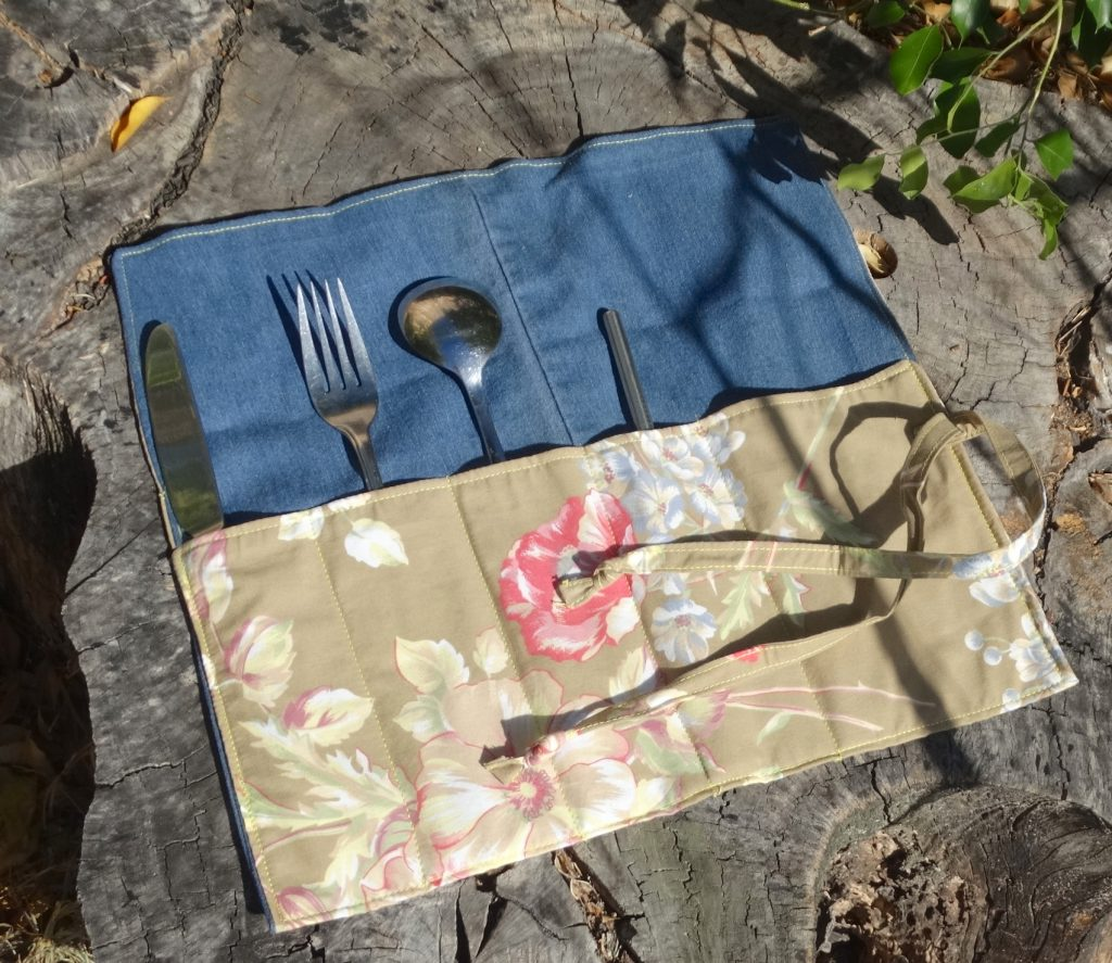 Cutlery wrap made from upcycled fabric.